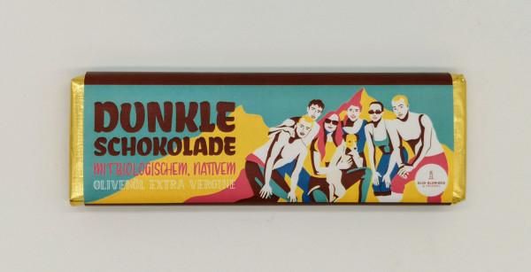 Dunkle Schokolade mit biologischem, nativem Olivenöl Extra Vergine